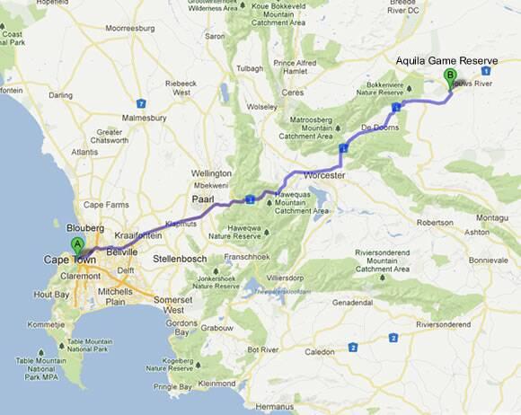 magasiner pour l'original grande vente de liquidation lacer dans Aquila Private Game Reserve Map & Directions